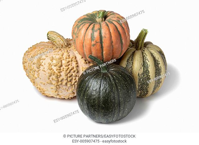 Variety of pumpkins on white background