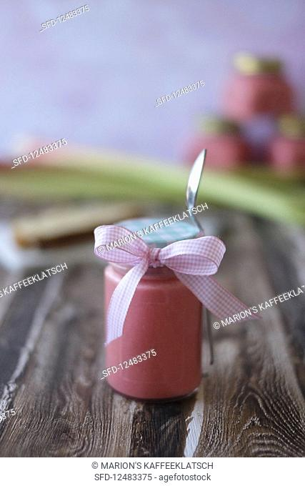 A jar of rhubarb curd