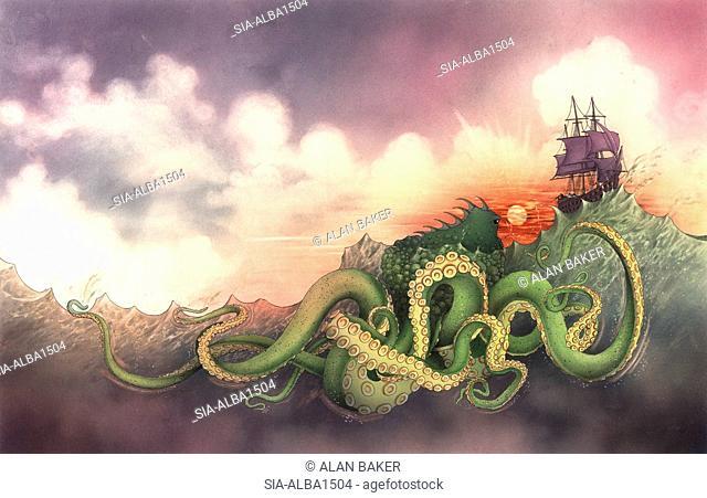 Sea monster following ship at sunset