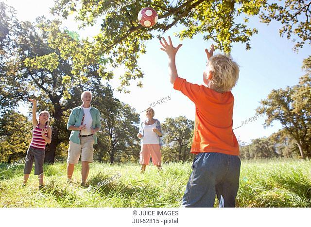 Grandparents and grandchildren throwing ball in rural field
