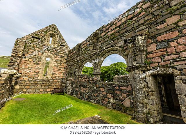 The abandoned ruins of the old nunnery on Iona Island, inner Hebrides, Scotland