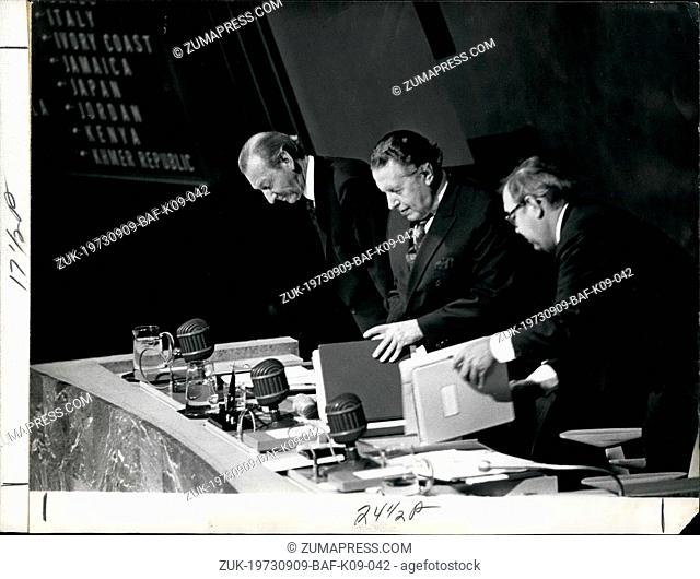 Sep. 09, 1973 - The new President of UN Gen. Assembly seated from L to R: Secretary General Kurt Waldheim, President of the Gen. Assembly