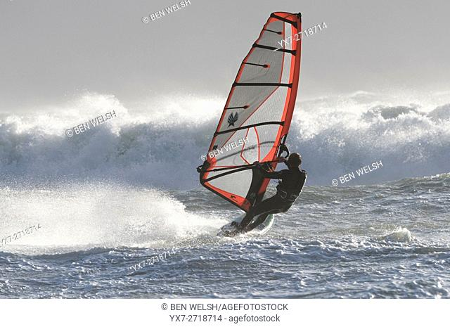 Windsurfing action. Tarifa, Costa de la Luz, Cadiz, Andalusia, Spain, Southern Europe