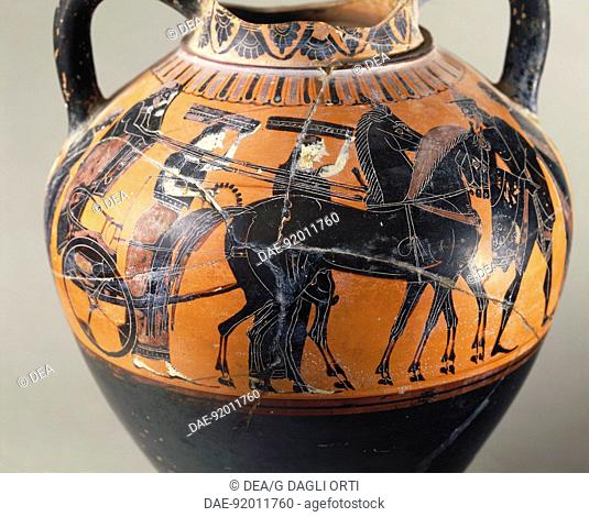Greek civilization, 6th century b.C. Black-figure pottery. Attic amphora. Detail: wedding procession.  Tarquinia, Museo Archeologico (Archaeological Museum)