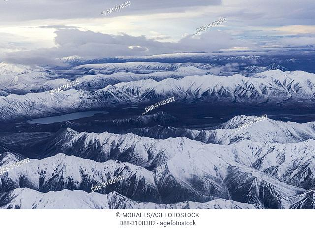 United States, Alaska, Arctic National Wildlife Refuge, North Slope Borough, aerial view with the Brooks range
