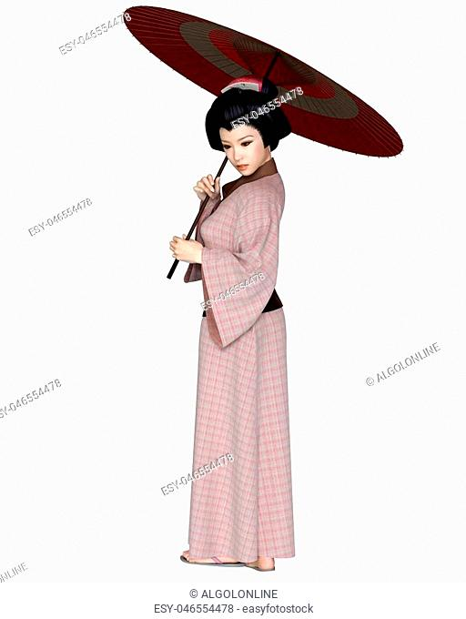Young Japanese woman wearing a pink check kimono and holding a red parasol, 3d digitally rendered illustration