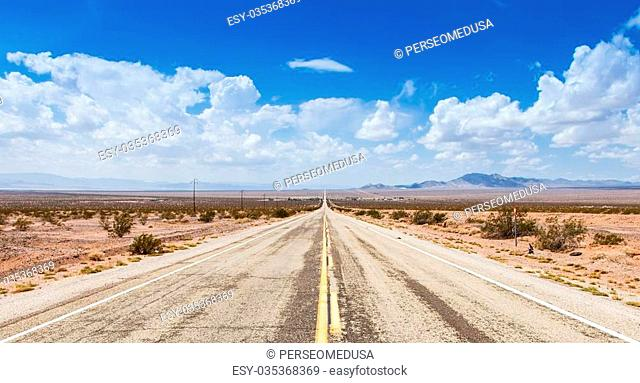 Close to Amboy (USA). Old part of Route 66 in the middle of the desert