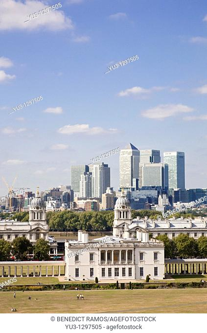 View of the Queen's House, Greenwich with Canary Wharf in the background, London, England, UK