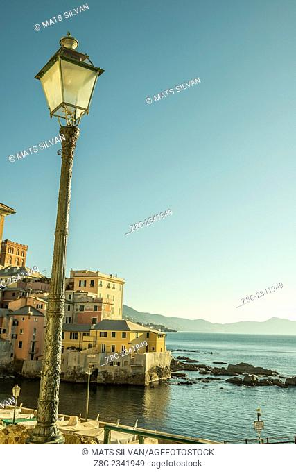 Boccadasse and a street lamp in a sunny day on the seacoast in Liguria, Italy