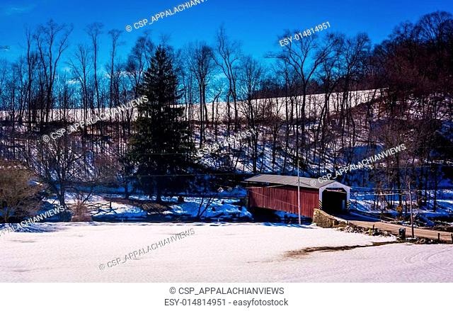 Winter view of White Rock Forge Covered Bridge in Lancaster County, Pennsylvania