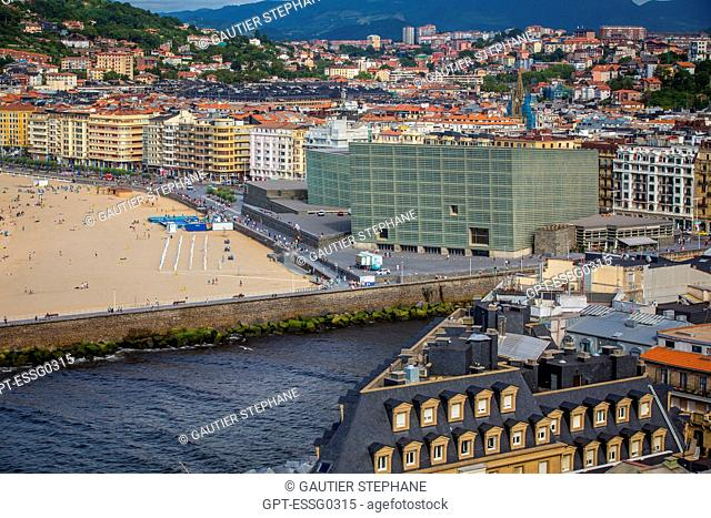 ZURRIOLA BEACH, KURSAAL CUBES, CONVENTION CENTER, SAN SEBASTIAN, DONOSTIA, BASQUE COUNTRY, SPAIN
