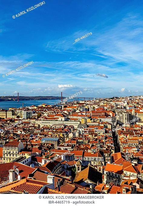 Cityscape with bridge Ponte 25 de Abril over river Tejo, seen from Sao Jorge Castle, Lisbon, Portugal
