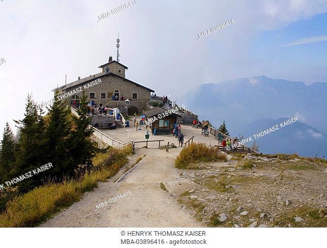 Germany, Berchtesgaden, waiter-salt-mountain, Kehlstein, Kehlsteinhaus, tourists, autumn, fog, Berchtesgadener land, mountain, summit, D-Haus, diplomat-house