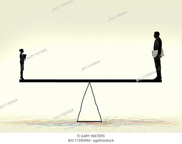 Small businesswoman and large businessman balancing on seesaw