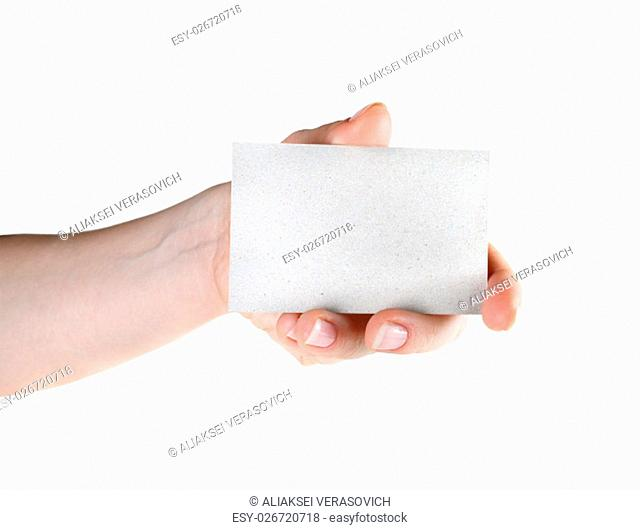 Showing blank business card in hand. For design presentations and portfolios. Isolated on white. Clipping path