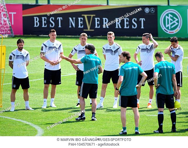 coach Joachim Loew (Germany) speaking to his players: Marvin Plattenhardt (Germany), Niklas Suele (Germany), Nils Petersen (Germany), Matthias Ginter (Germany)
