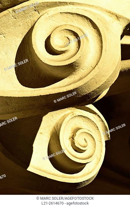 Detail, two spirals. Hotel Casa Fuster. Designed by Lluís Domènech i Montaner architect between 1908 and 1910. Gracia quarter, Barcelona, Catalonia, Spain