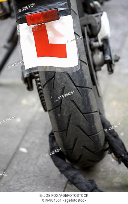 L Learner plates on a motorcycle Belfast Northern Ireland UK