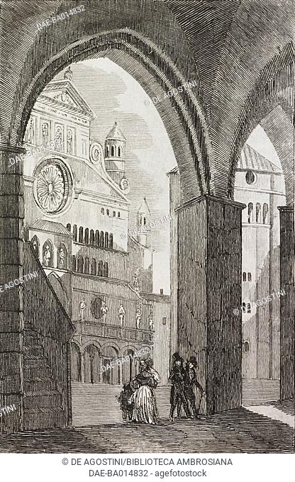 View of the square and Cremona Cathedral, Lombardy, Italy, engraving from L'album, giornale letterario e di belle arti, June 9, 1838, Year 5