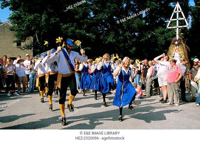 Wakefield Morris Dancers during a rushbearing festival in Sowerby Bridge, West Yorkshire
