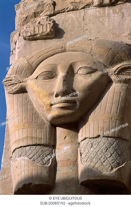 Deir-el-Bari. Hepshepsut Mortuary Temple. Carved column with head of Goddess Hathor represented with cows ears. One of the Hathoric columns