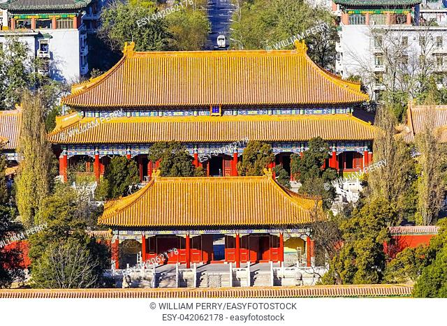 Many Red Orange Pavilions Jingshan Park Looking North Beijing, China. Part of the Forbidden City, created in the 1100s