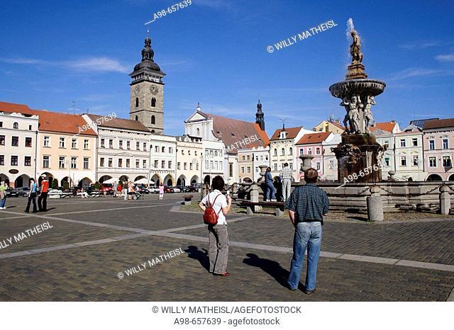 Pedestrians, Old Town Square. Samson Fountain. Ceske Budejovice. South Bohemia. Czech Republic