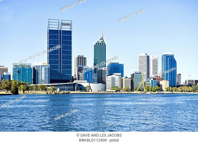 City skyline and waterfront, Perth, Western Australia, Australia