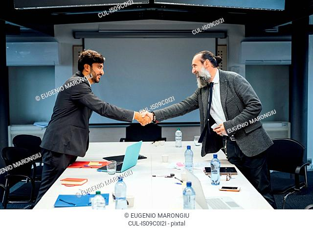Business partners shaking hands at meeting in office