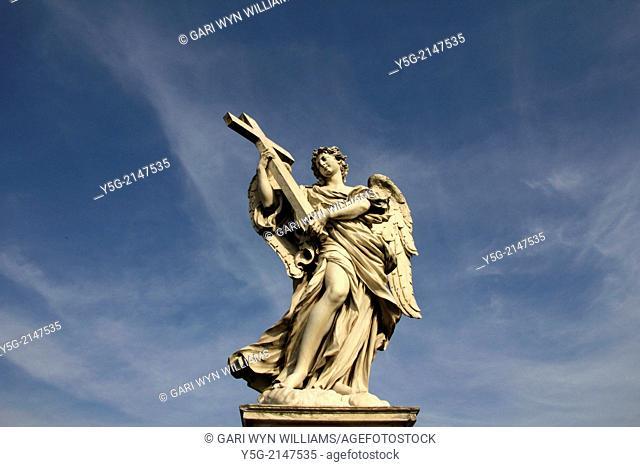 Statue on Ponte Sant angelo bridge in Rome italy