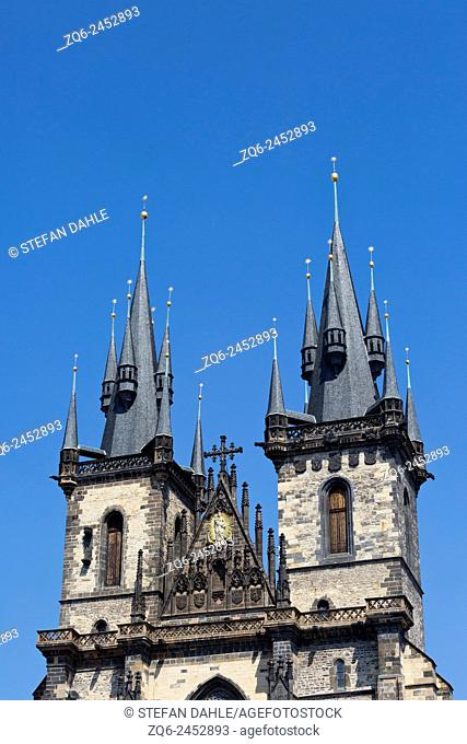 Tower of the Church of Our Lady before Týn in Prague, Czechia