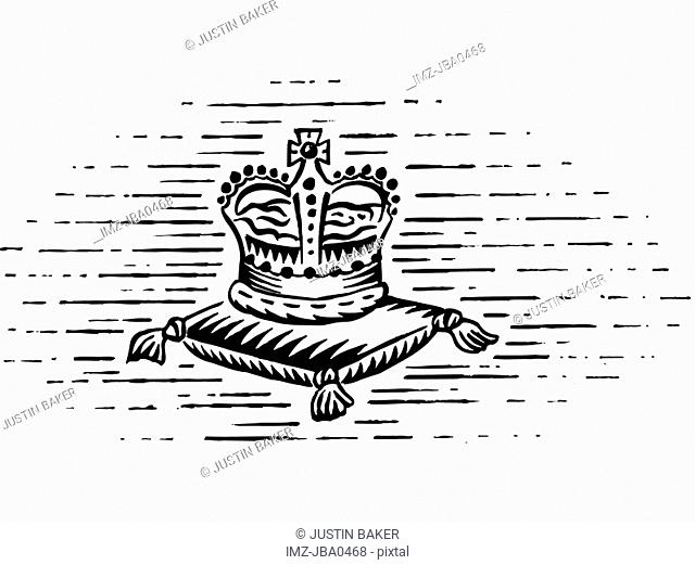 A black and white drawing of the royal crown