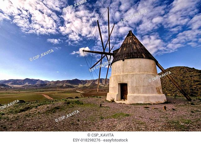 Old Windmill in Las Negras Cabo de Gata natural Park Almeria Andalucia Spain