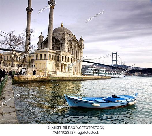 Ortaköy Mosque Turkish: Buyuk Mecidiye Camii Istanbul Turkey
