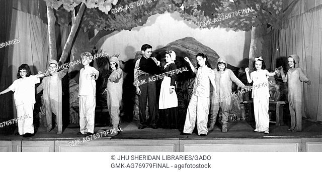 Children with the Childrens Educational Theatre act in scene from 'The Street of Gratitude', April, 1945