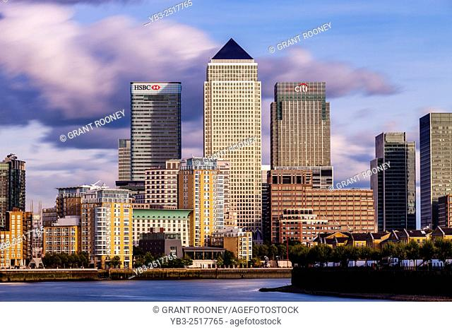 The River Thames and Canary Wharf, London, UK