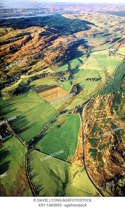 Aerial view north over Kilmartin Valley, near Crinan, Argyll, Scotland, showing many important prehistoric archaeological sites