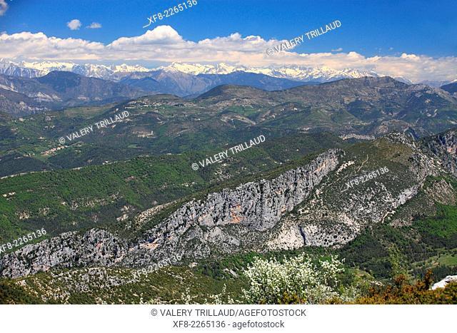 Top view from the Mont Saint Martin in the Esteron Valley, Prealpes d'Azur regional park, Alpes-Maritimes, Provence-Alpes-Côte d'Azur, France