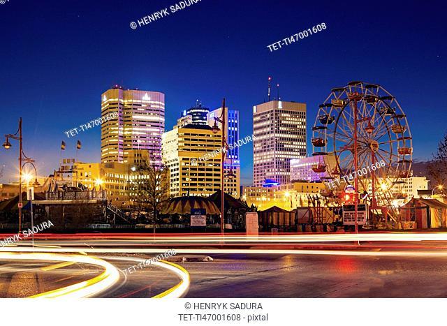 Canada, Manitoba, Winnipeg, Long exposure of car traffic at dusk