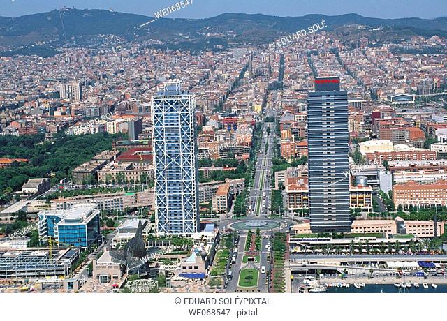 Carrer Marina (Marina Street) with Mapfre tower and Hotel Arts at fore. Barcelona. Spain