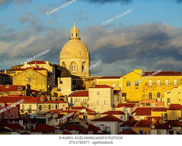 Portugal, Lisbon, Miradouro das Portas do Sol, View over Alfama Neighbourhood towards the National Pantheon at sunset