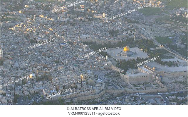 Aerial HD footage of the Western Wall in the old city of Jerusalem. Golden Dome is al-akza; al-aqsa Mosque. See archaeological excavations in foreground