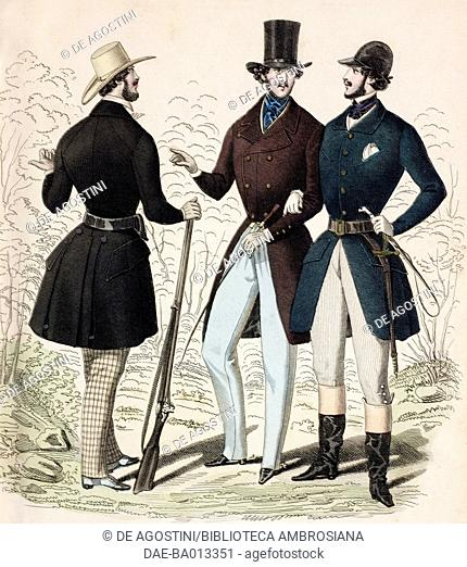 Male sketches in hunting clothing with rifle, in morning suit and in equestrian clothing with riding crop, plate 9 taken from Parisian Fashion