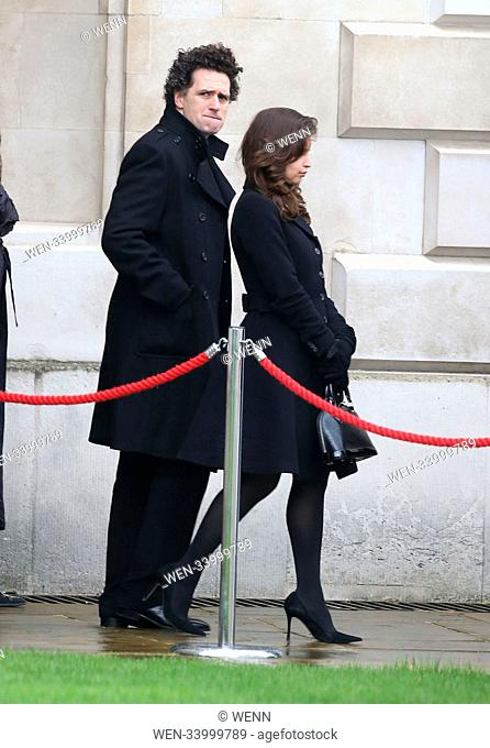 Attends Professor Stephen Hawking funeral at Church of St Mary the Great, The University Church, Cambridge Featuring: Felicity Jones