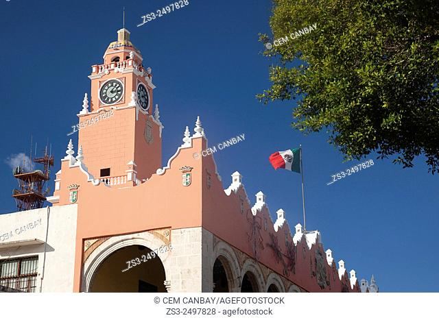 Detail of the Palacio Municipal and Ayuntamiento-Town Hall in Zocalo at the historic center, Merida, Yucatan Province, Mexico, Central America