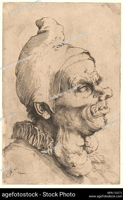 Large Grotesque Head. Artist: Jusepe de Ribera (called Lo Spagnoletto) (Spanish, Jótiva 1591-1652 Naples); Date: ca. 1622; Medium: Etching and engraving;...