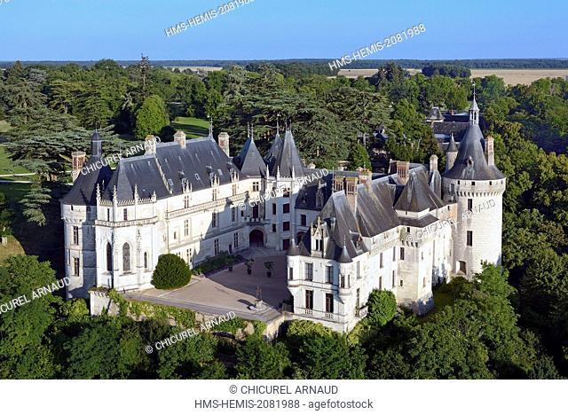 France, Loir et Cher, Loire valley classified world heritage by the UNESCO, the castle of Chaumont sur Loire (aerial view)