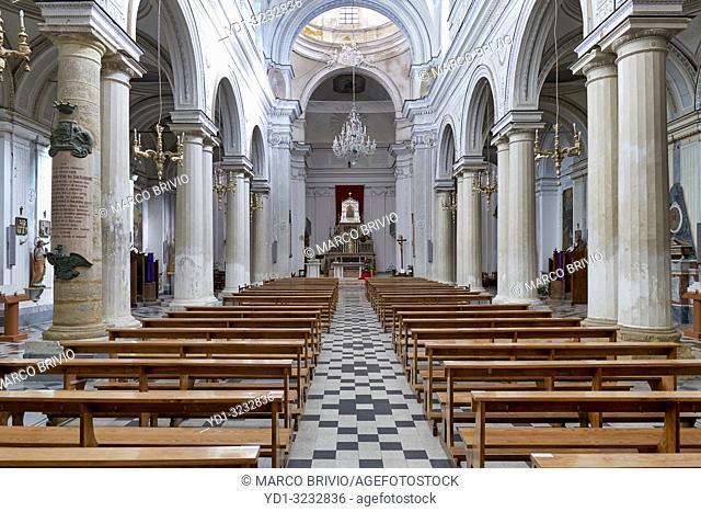 the interior of Santa Maria del Monte Church. Caltagirone Sicily Italy