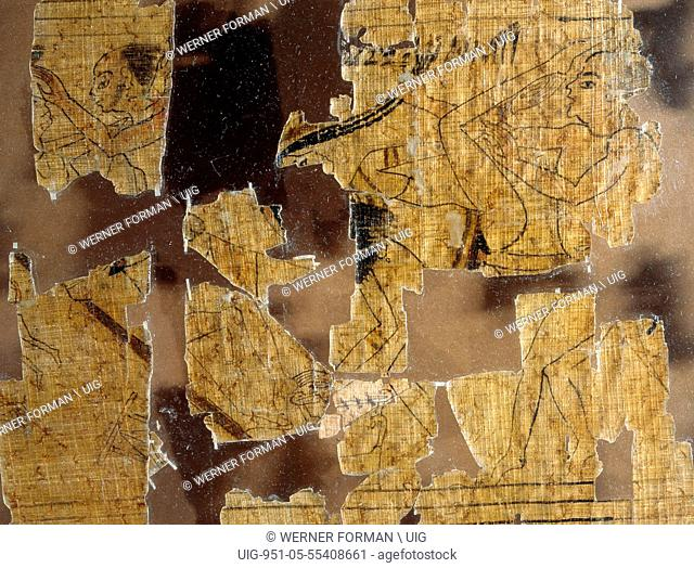 A detail from the Turin Papyrus which depicts scenes of prostitutes with their clients and various love making positions