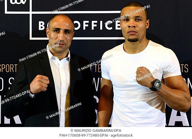 Arthur Abraham (L) and Chris Eubank jr. partake in a press conference before the Super middleweight IBO boxing match in Berlin, Germany, 8 June 2017
